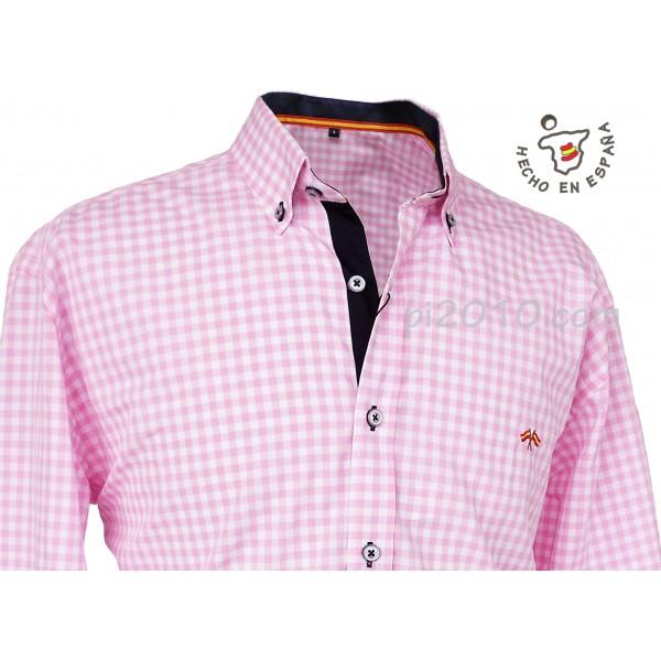 Camisa bandera de España cuadros rosa