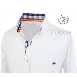 Camisa bandera España blanca con cuadros marino