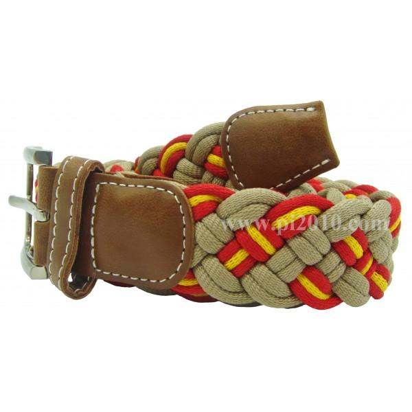 Cinturón trenzado de bandera de España beige