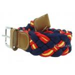 Cinturón trenzado de bandera de España marino