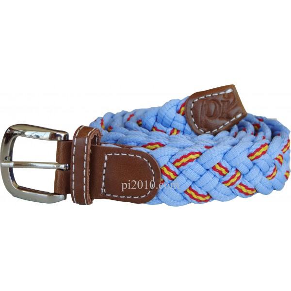 Cinturón trenzado de bandera de España celeste - estrecho