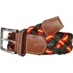 Cinturón trenzado de bandera de España  verde
