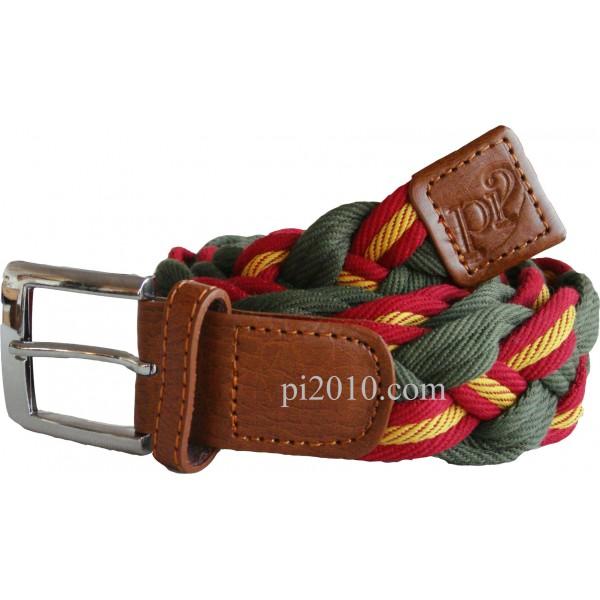 Cinturón trenzado ancho de bandera de España verde