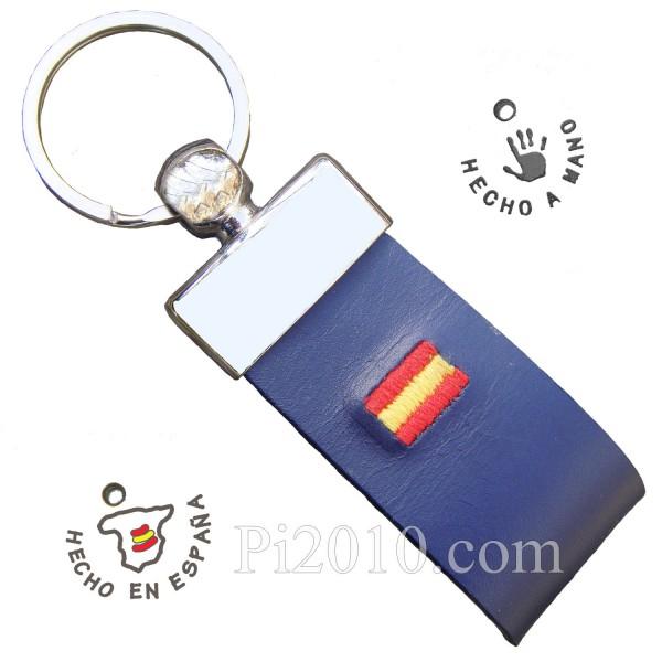 Llavero bandera de España piel bordada marino