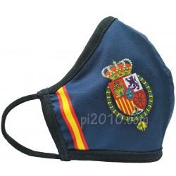 Mascarilla Casa Real marino con bandera de España