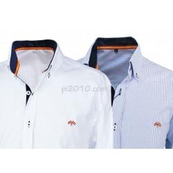 Pack  camisas bandera de España colores blanco y raya marino