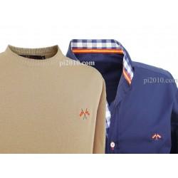 Conjunto camisa bandera España marino + Jersey beige cuello caja