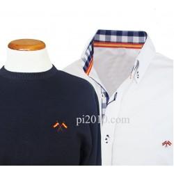 Conjunto camisa bandera España blanca marino cuadros + Jersey marino cuello caja
