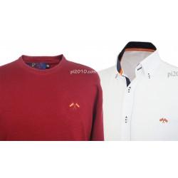 Conjunto camisa bandera España blanca + Jersey burdeos cuello caja