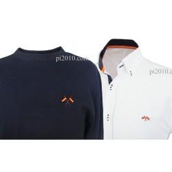 Conjunto camisa bandera España blanca marino + Jersey marino cuello caja