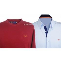 Conjunto camisa bandera España celeste + Jersey burdeos cuello caja