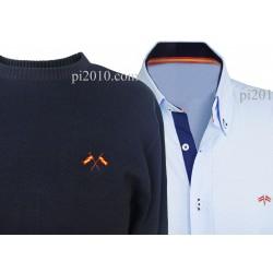 Conjunto camisa bandera España celeste + Jersey marino cuello caja