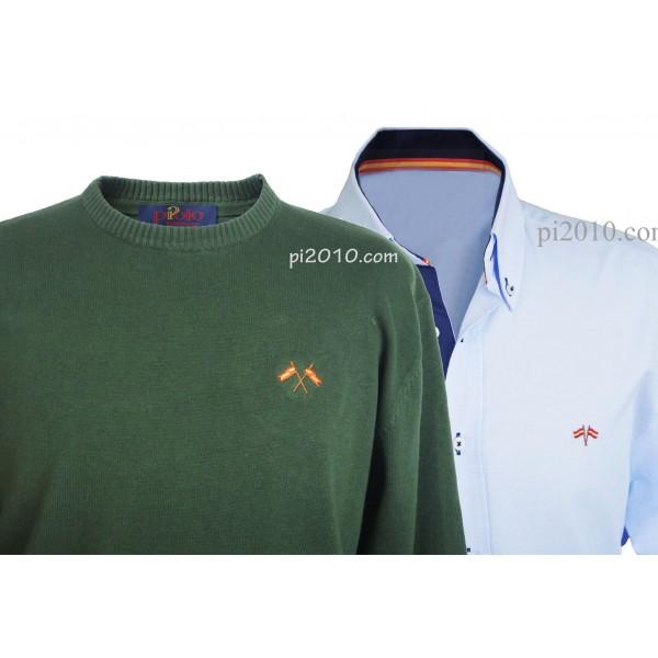 Conjunto camisa bandera España celeste + Jersey verde cuello caja