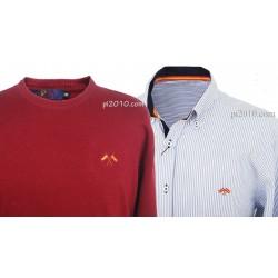 Conjunto camisa bandera España rayas + Jersey burdeos cuello caja