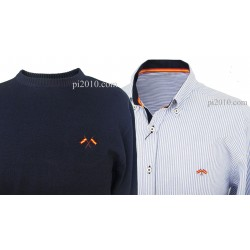 Conjunto camisa bandera España raya marino + Jersey marino cuello caja