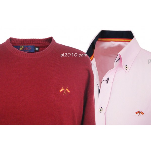 Conjunto camisa bandera España rosa + Jersey burdeos cuello caja