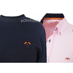 Conjunto camisa bandera España rosa + Jersey marino cuello caja