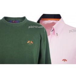 Conjunto camisa bandera España rosa + Jersey verde cuello caja