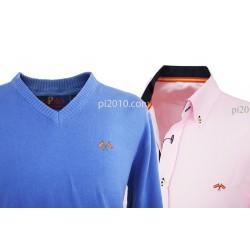 Conjunto camisa bandera España rosa + Jersey azul cuello pico