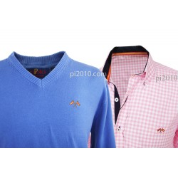 Conjunto camisa bandera España cuadros rosa + Jersey azul cuello pico