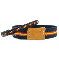Pack pulsera elástico marino con bandera de España y pulsera trenzado marino con bandera