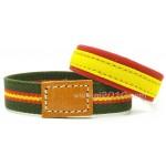Pack pulsera tela bandera de España y pulsera elástico verde con bandera