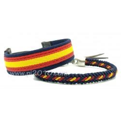 Pack pulsera tela marino con bandera de España y pulsera trenzado marino con bandera