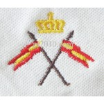Polo con bandera de España y corona rosa bordado dos banderas Hombre