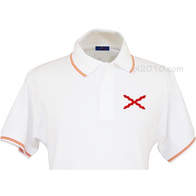 Polo Hombre Blanco con Bordado Bandera de Espa/ña en Pecho Blanco 100/% algod/ón Pi2010