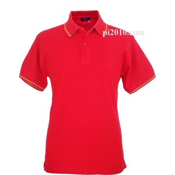 Polo rojo con cuello bandera de España hombre