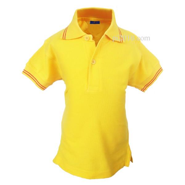 Polo niño amarillo con bandera de España