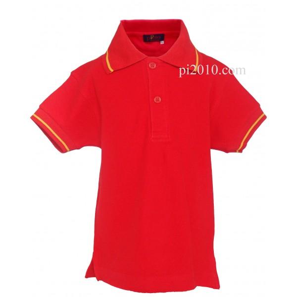 Polo niño rojo con bandera de España
