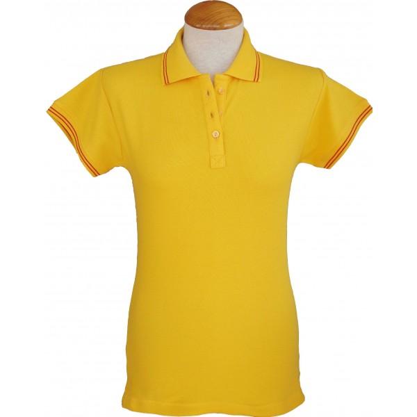 Polo mujer amarillo con bandera de España