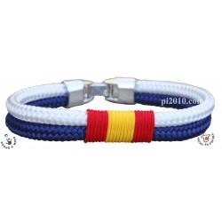 Pulsera cordón blanco y marino con bandera de España