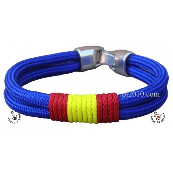 Pulsera cordón azul con bandera de España