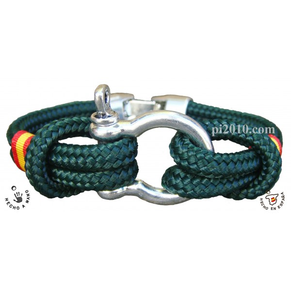 Pulsera grillete simple bandera de España color verde