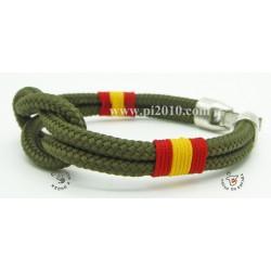 Pulsera nudo verde militar con bandera de España trenzada