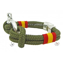Pulsera grillete verde militar con bandera de España trenzada