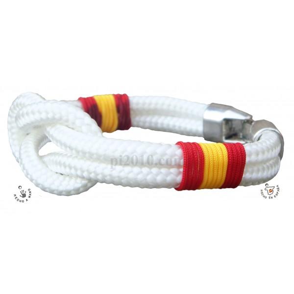 Pulsera nudo blanco con bandera de España trenzada