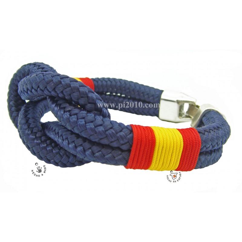 c3df0b919c90 Pulsera náutica marino cordón gordo con bandera de España trenzada