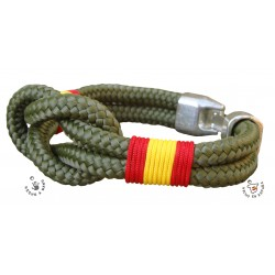 Pulsera nudo gordo verde militar con bandera de España trenzada