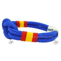 Pulsera nudo azul gordo con bandera de España trenzada