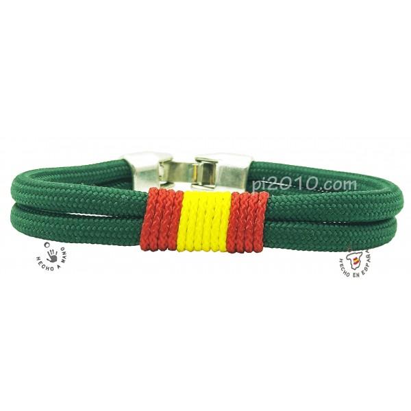 Pulsera cordón verde con bandera de España