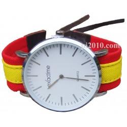 Reloj con correa de tela bandera de España