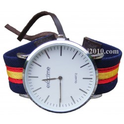 Reloj con correa marino de tela bandera de España