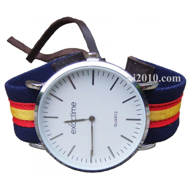 6eb71ed91 Reloj con correa marino de tela bandera de España
