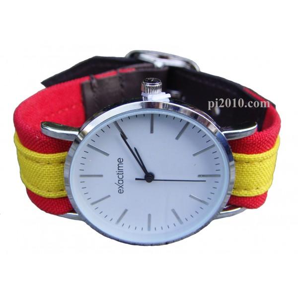 Reloj bandera de España, correa de tela y piel