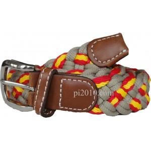 Cinturón trenzado de bandera de España beige - estrecho