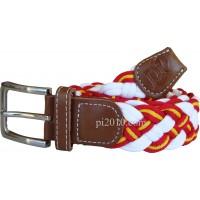 Cinturón trenzado de bandera de España blanco