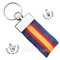 Llavero tela vaquera  bandera de España